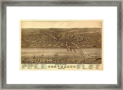 Antique Bird's-eye View Map Of Cleveland 1877 Framed Print by Mountain Dreams
