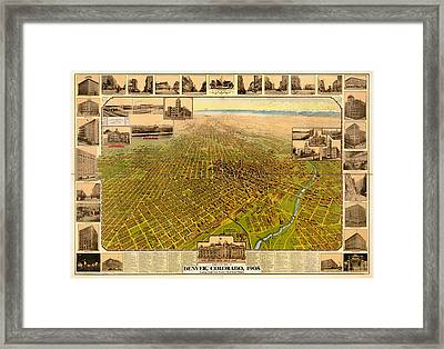 Antique Bird's-eye View Map Of Denver 1908 Framed Print by Mountain Dreams