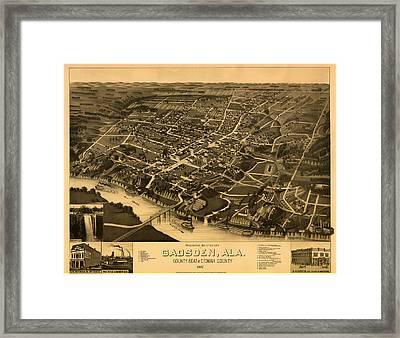 Antique Bird's-eye View Map Of Gadsden Alabama 1887 Framed Print