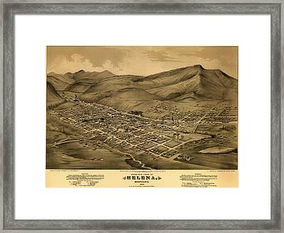 Antique Bird's-eye View Map Of Helena Montana 1875 Framed Print
