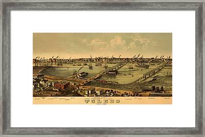 Antique Bird's-eye View Map Of Toledo Ohio 1876 Framed Print