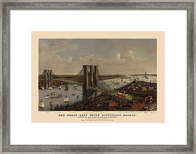Antique Birds Eye View Of The Brooklyn Bridge And New York City By Currier And Ives - 1885 Framed Print