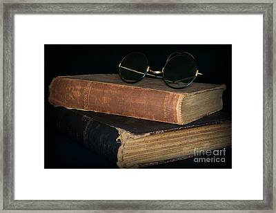Antique Books  Antique Glasses Framed Print by Paul Ward