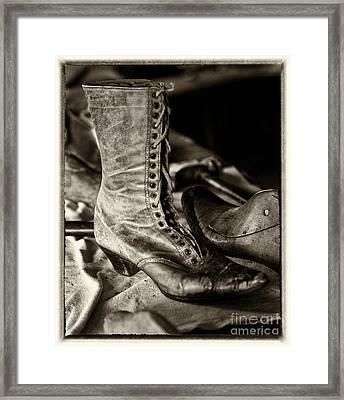 Antique Boot Sepia Framed Print