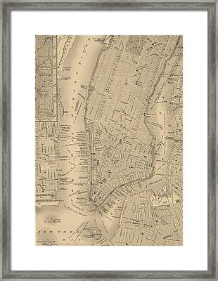 Antique Boston Map 1842 Framed Print by Dan Sproul