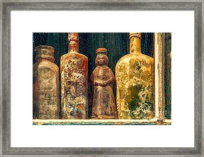 Antique Bottles Framed Print by Kathleen K Parker