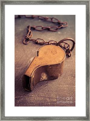 Antique Brass Military Whistle Framed Print