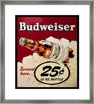 Antique Budweiser Signage Framed Print