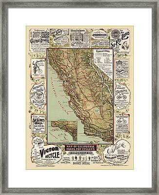 Antique California Bicycle Trails Framed Print by Gary Grayson