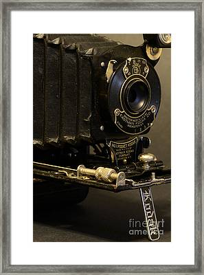 Antique Camera In Black And White Framed Print