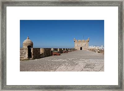 Antique Cannon Lined Up On The City Framed Print by Panoramic Images