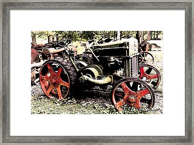 Antique Case Tractor Red Wheels Framed Print
