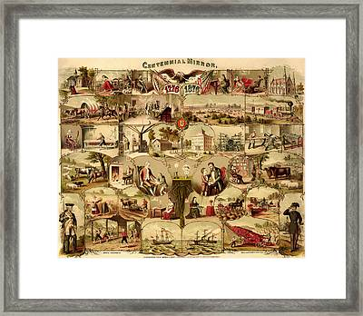 Antique Centennial Mirror Of The United States 1776-1876 Framed Print by Mountain Dreams