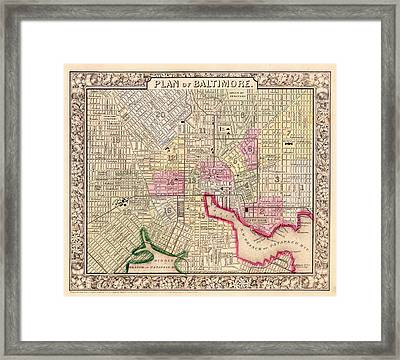 Antique City Map Of Baltimore 1864 Framed Print by Mountain Dreams