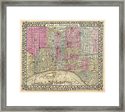 Antique City Map Of Philadelphia 1867 Framed Print by Mountain Dreams