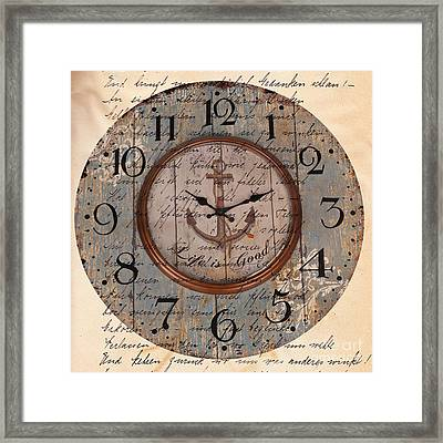 Antique Clock Anchor Vintage Wallpaper Framed Print