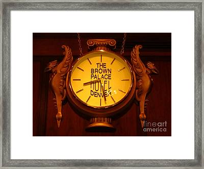 Antique Clock At The Bown Palace Hotel Framed Print by John Malone