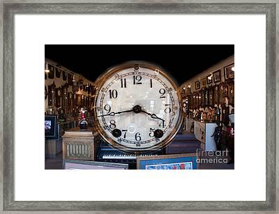 Framed Print featuring the photograph Antique Clock Store by Gunter Nezhoda