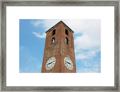 Antique Clock Tower On Blue Sky Background Framed Print by Kiril Stanchev