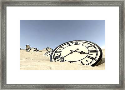 Antique Clocks In Desert Sand Framed Print