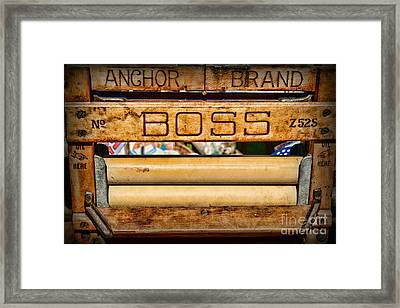 Antique Clothes Wringer Anchor Brand Framed Print by Paul Ward