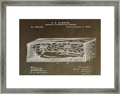 Antique Coffin Patent Framed Print by Dan Sproul
