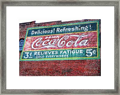 Antique Coke Sign Framed Print