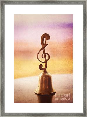 Antique Copper Handbell With G-clef Handle Framed Print by Beverly Claire Kaiya