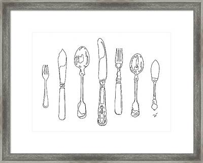 Antique Cutlery Full House Framed Print