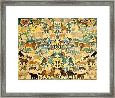 Antique Cutout Of Animals  Framed Print by American School