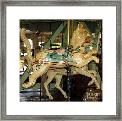 Framed Print featuring the photograph Antique Dentzel Menagerie Carousel Cat by Rose Santuci-Sofranko