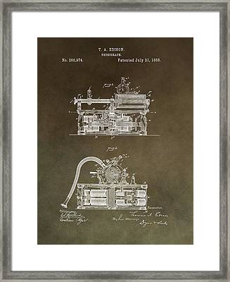 Antique Edison Phonograph Patent Restored Framed Print by Dan Sproul