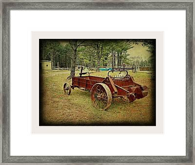 Antique Farm Wagon Framed Print by Dianne  Lacourciere