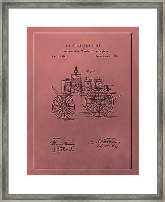 Antique Fire Engine Patent On Red Framed Print by Dan Sproul