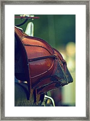 Antique Fireman Helmets Framed Print