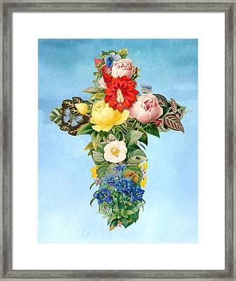 Antique Flower Cross Framed Print by Gary Grayson