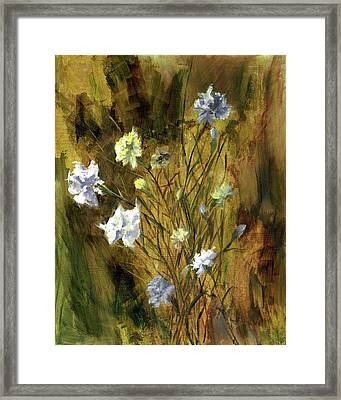 Framed Print featuring the painting Antique Flowers by Vic  Mastis