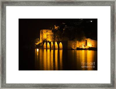 Antique Fortress In Alanya At Night Framed Print
