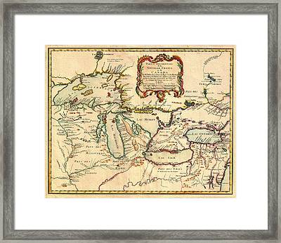 Antique French Map Of The Great Lakes 1755 Framed Print
