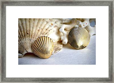 Antique Gold Sea Shell Style Earrings 2 Framed Print by Bruce Iorio