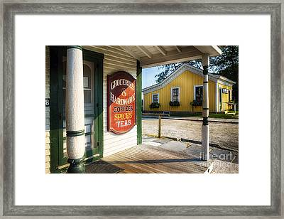 Antique Grocery Store Sign Framed Print by George Oze