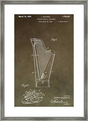 Antique Harp Patent Framed Print by Dan Sproul