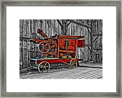 Antique Hay Baler Selective Color Framed Print by Steve Harrington