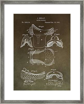 Antique Horse Saddle Patent Framed Print by Dan Sproul