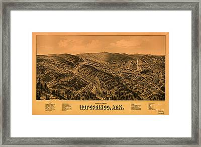 Antique Illustrative Map Of Hot Springs Arkansas 1888 Framed Print by Mountain Dreams