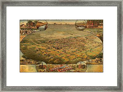Antique Illustrative Map Of Phoenix Arizona 1885 Framed Print by Mountain Dreams