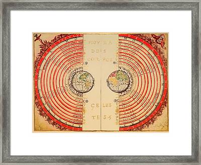 Antique Illustrative Map Of The Ptolemaic Geocentric Model Of The Universe 1568 Framed Print by Mountain Dreams