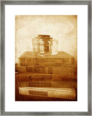 Antique Inkwell On Old Books Vintage Style Framed Print by Ann Powell