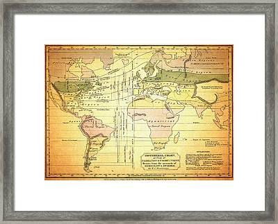 Antique Isothermal Chart - 1823 Framed Print by Mountain Dreams