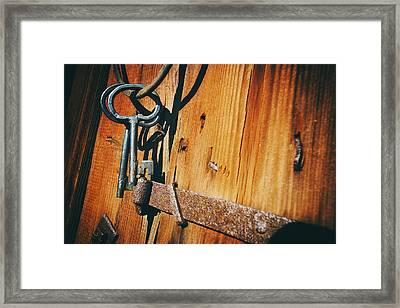 Antique Keys And Rings Framed Print by Christian Lagereek